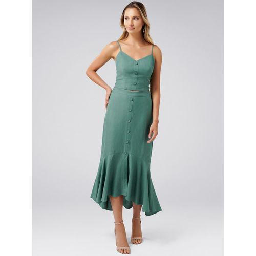 Forever New Women Green Solid A-Line Midi Skirt