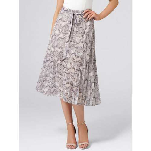 Forever New Women Grey & Off-White Printed A-Line Skirt