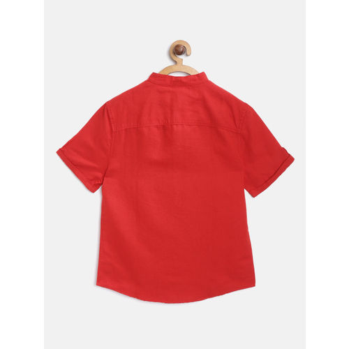 Marks & Spencer Boys Red Regular Fit Solid Casual Shirt
