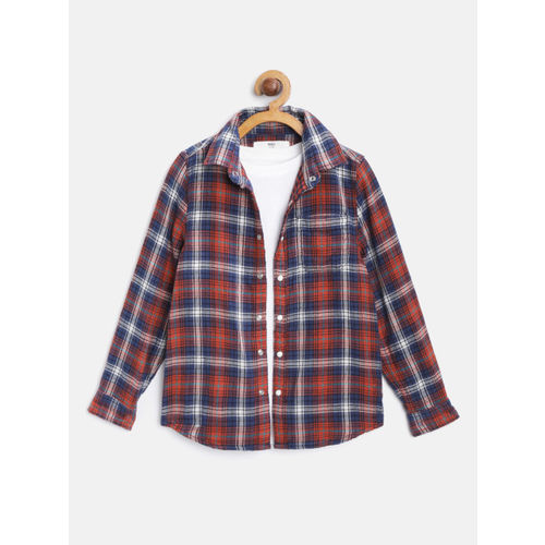 Marks & Spencer Boys Navy Blue & Orange Checked Casual Shirt with T-shirt