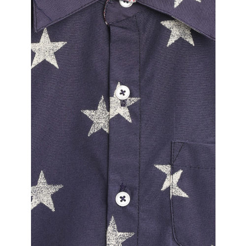 CrayonFlakes Boys Navy Blue & White Regular Fit Printed Casual Shirt