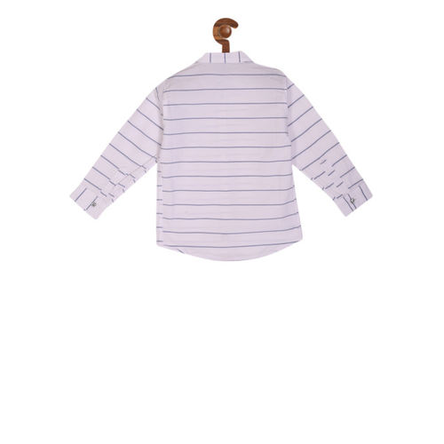 RIKIDOOS Boys Off-White Regular Fit Striped Casual Shirt