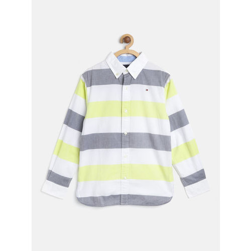 Tommy Hilfiger Boys White & Lemon Yellow Regular Fit Striped Casual Shirt