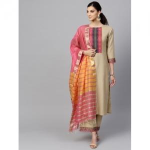 INDO ERA Women's Pure Cotton Solid Straight Kurta, Palazzo With Dupatta Set(IE10KS4BE1096_P)