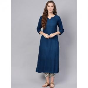 Indo Era Blue Viscose Printed Kurta with Dhoti Pants