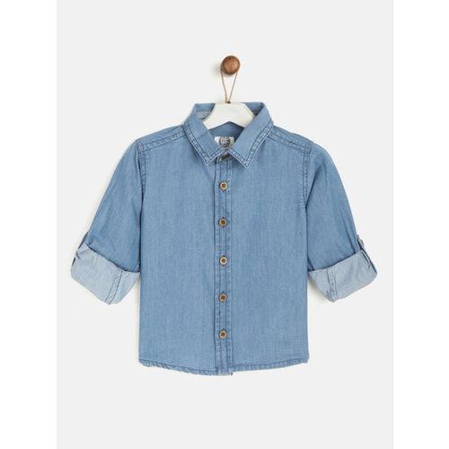 YK Boys Blue Regular Fit Solid Chambray Shirt
