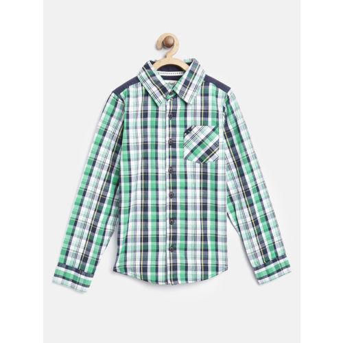 Nauti Nati Boys Green & Navy Blue Regular Fit Checked Casual Shirt