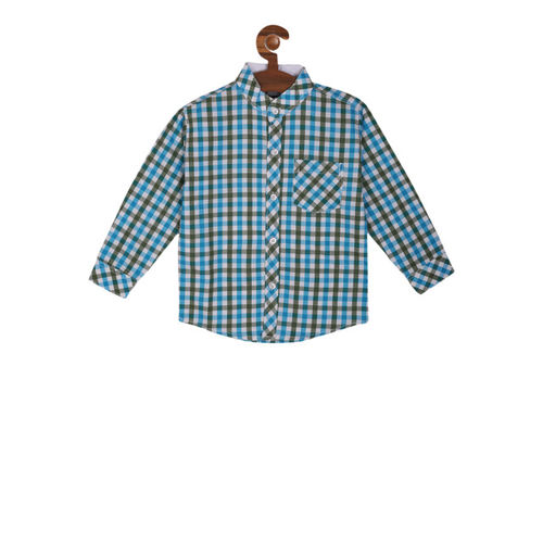 RIKIDOOS Boys Blue & White Regular Fit Checked Casual Shirt