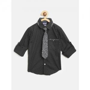 Little Kangaroos Boys Black & White Regular Fit Printed Casual Shirt with Tie