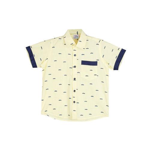 oui oui Boys Yellow Regular Fit Printed Casual Shirt