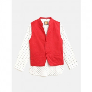 Little Kangaroos Boys White & Red Regular Fit Printed Casual Shirt with Ethnic Jacket