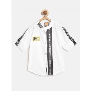 Little Kangaroos Boys White & Black Regular Fit Printed Detail Casual Shirt