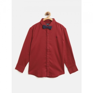 Gini and Jony Boys Red Regular Fit Solid Casual Shirt with Bow Tie