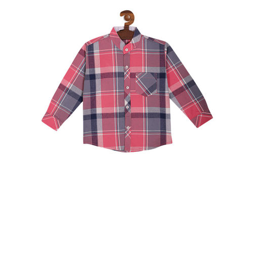 RIKIDOOS Boys Pink & Grey Regular Fit Checked Casual Shirt