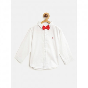 Gini and Jony Boys White Regular Fit Self Design Casual Shirt with Bow Tie