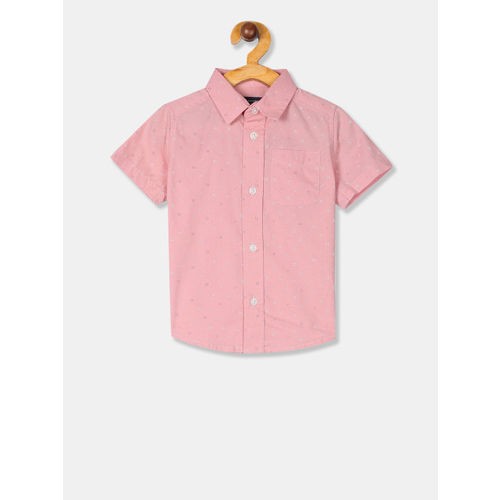 The Childrens Place Boys Pink Regular Fit Printed Casual Shirt