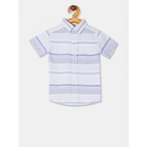 The Childrens Place Boys Blue & White Regular Fit Striped Casual Shirt