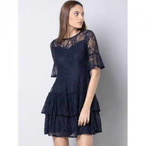 FabAlley Blue Self Design Fit and Flare Dress
