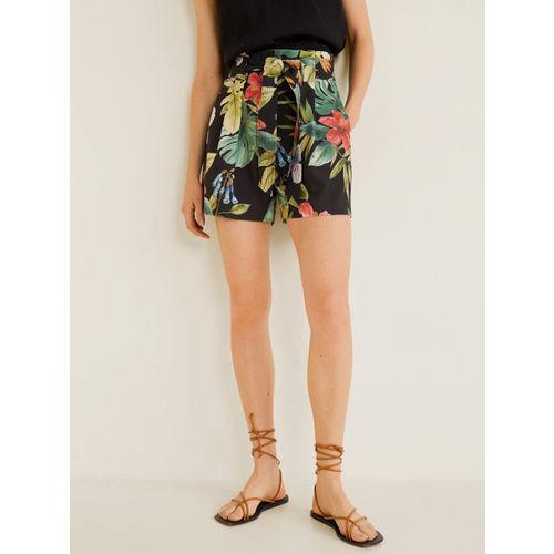 MANGO Women Black & Green Floral Print Regular Shorts