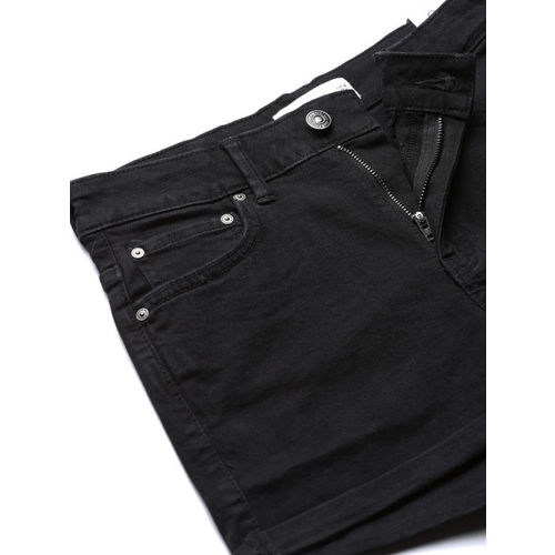 MANGO Women Black Solid Regular Fit Denim Shorts