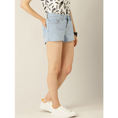 MANGO Women Blue Washed Denim Shorts