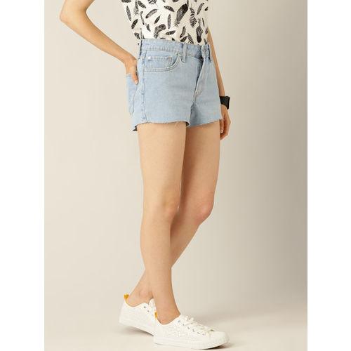 MANGO Women Blue Washed Denim Shorts