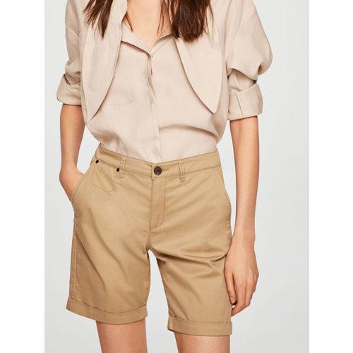 MANGO Women Beige Solid Chino Shorts