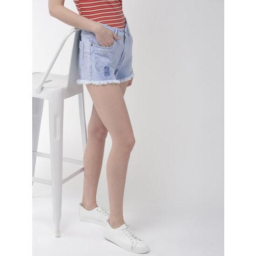 Mast & Harbour Women Blue Solid Regular Fit Hot Pants