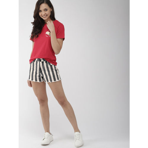 Mast & Harbour Women White Striped Regular Fit Denim Shorts