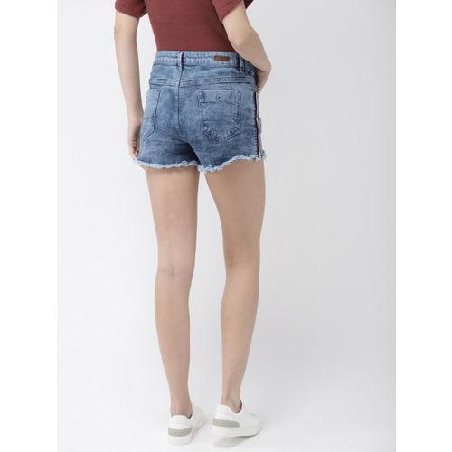 Mast & Harbour Women Blue Washed Denim Shorts