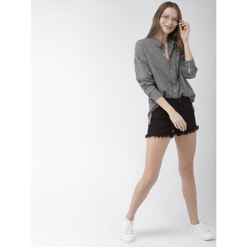 Mast & Harbour Women Black Solid Regular Fit Denim Shorts