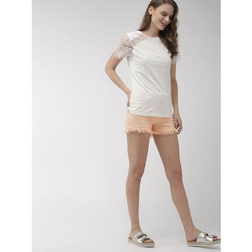 Mast & Harbour Women Peach-Coloured Solid Regular Fit Denim Shorts