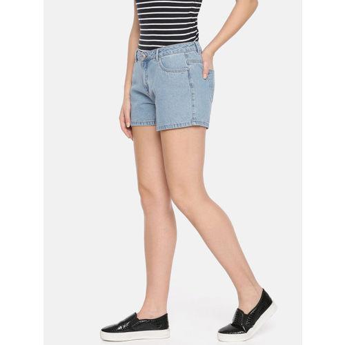ONLY Women Blue Washed Slim Fit Denim Shorts