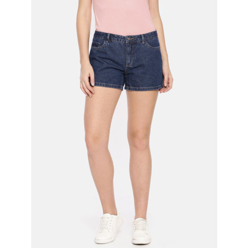 ONLY Women Blue Solid Slim Fit Denim Shorts