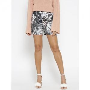 ONLY Women White & Grey Printed Regular Fit Shorts