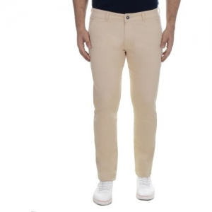 Ben Martin Slim Fit Men Cream Trousers
