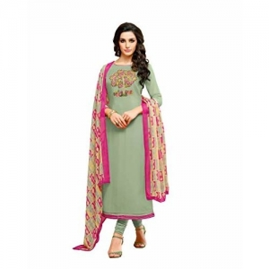 Oomph! Women's Unstitched Cotton blend Salwar Suit Dupatta Material (Mint Green)