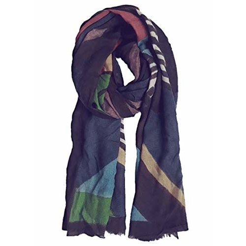 HALLUCINATION Valentines gift for girlfriend pashmina scarf 100% pure wool stole shawl ultra soft printed colorful scarves for women thin lightweight cozy and warm