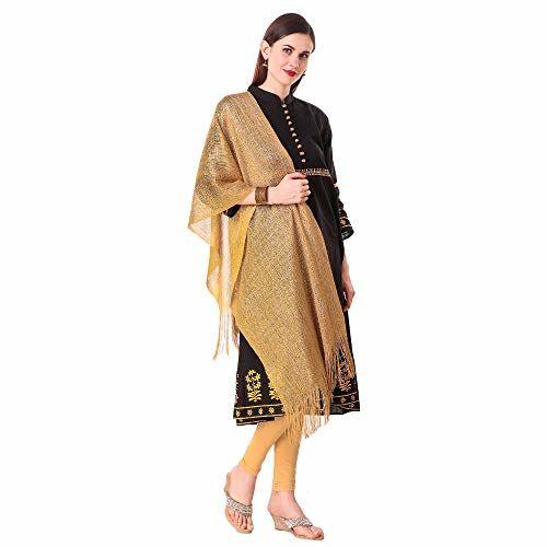 Dupatta Online Women's Fancy Trendy Golden Party Wear Net Hijab Stoles and Scarves (Golden, Free Size)