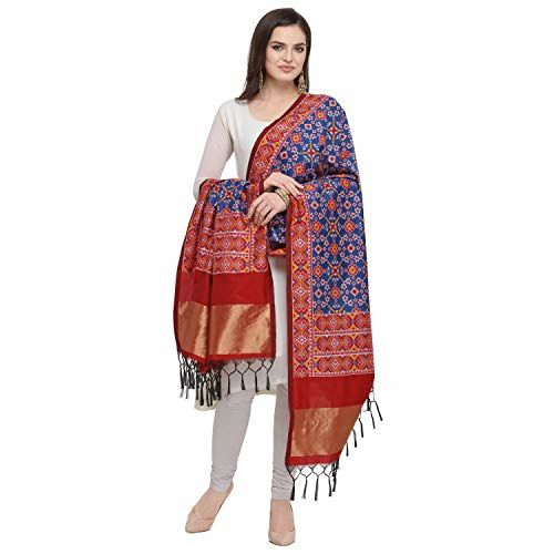 KAPAAHA Women's Woven Silk Blend Patola Dupatta