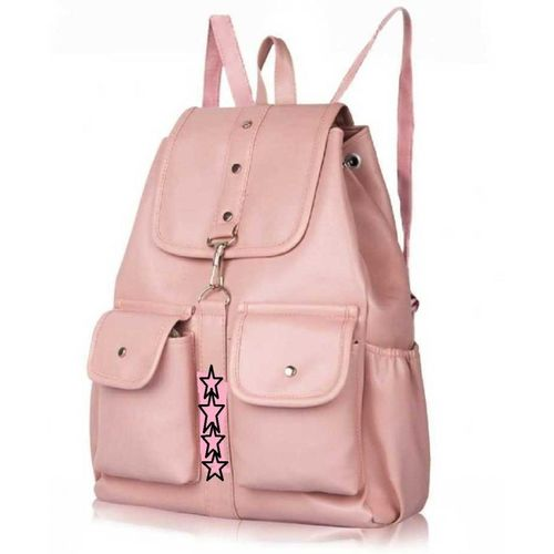 SAHAL GIRLS PU Leather Backpack School Bag Student Backpack Women Travel bag collage bag 10 L Backpack(Pink)
