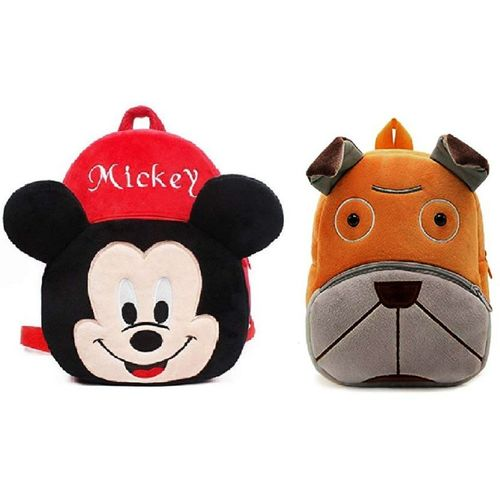 Lychee Bags Combo of kids school bags Mickey and dog 10 L Backpack(Red, Grey)