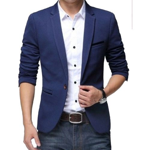 One Click Solid Single Breasted Party, Casual Men Blazer(Blue)