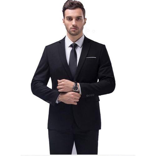 One Click Solid Single Breasted Formal Men Blazer(Black)