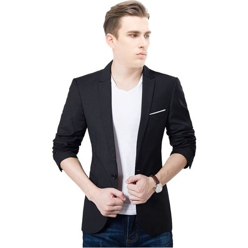 One Click Solid Single Breasted Formal, Wedding Men Blazer(Black)