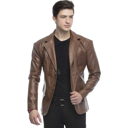 Lambency Solid Single Breasted Casual Men Blazer(Brown)