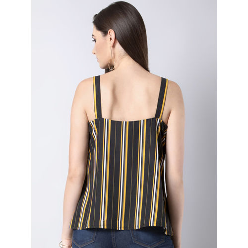 FabAlley Women Black Striped A-Line Top