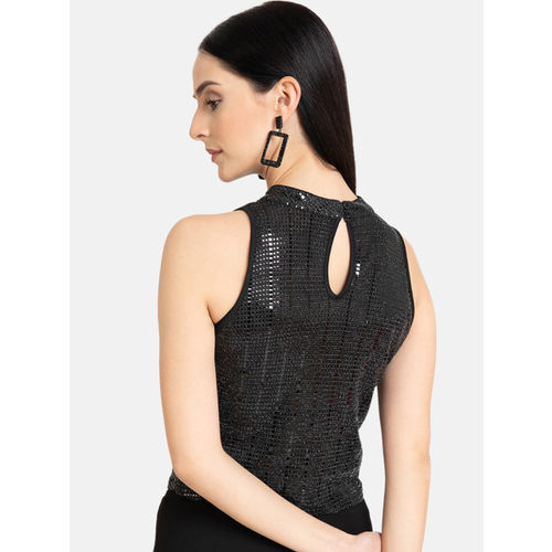 Kazo Women Black Embellished Crop Top
