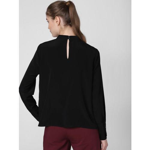 Vero Moda Women Black Solid Ruffled Top