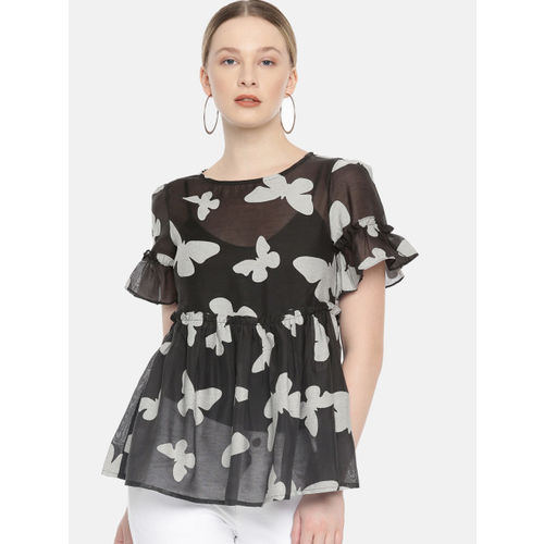 Vero Moda Women Black & White Printed Sheer Top